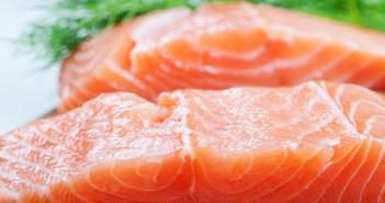 Salmon fish on woode board